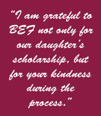 BEF Scholarship parent quote